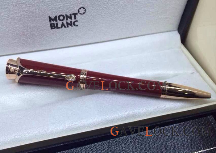 Montblanc Princess Monaco Replica Red And Rose Gold Ballpoint Pen